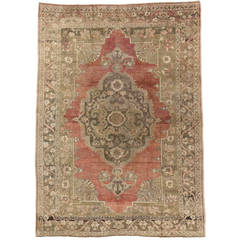 Antique Turkish Oushak Rug with Modern Design in Soft Muted Colors
