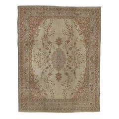 Antique Turkish Oushak with Soft Pastel Color Palette