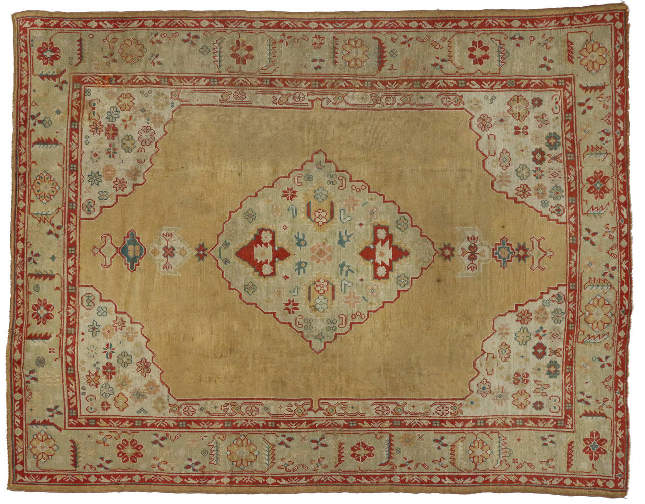 Antique turkish oushak area rug with modern traditional for Vintage style area rugs