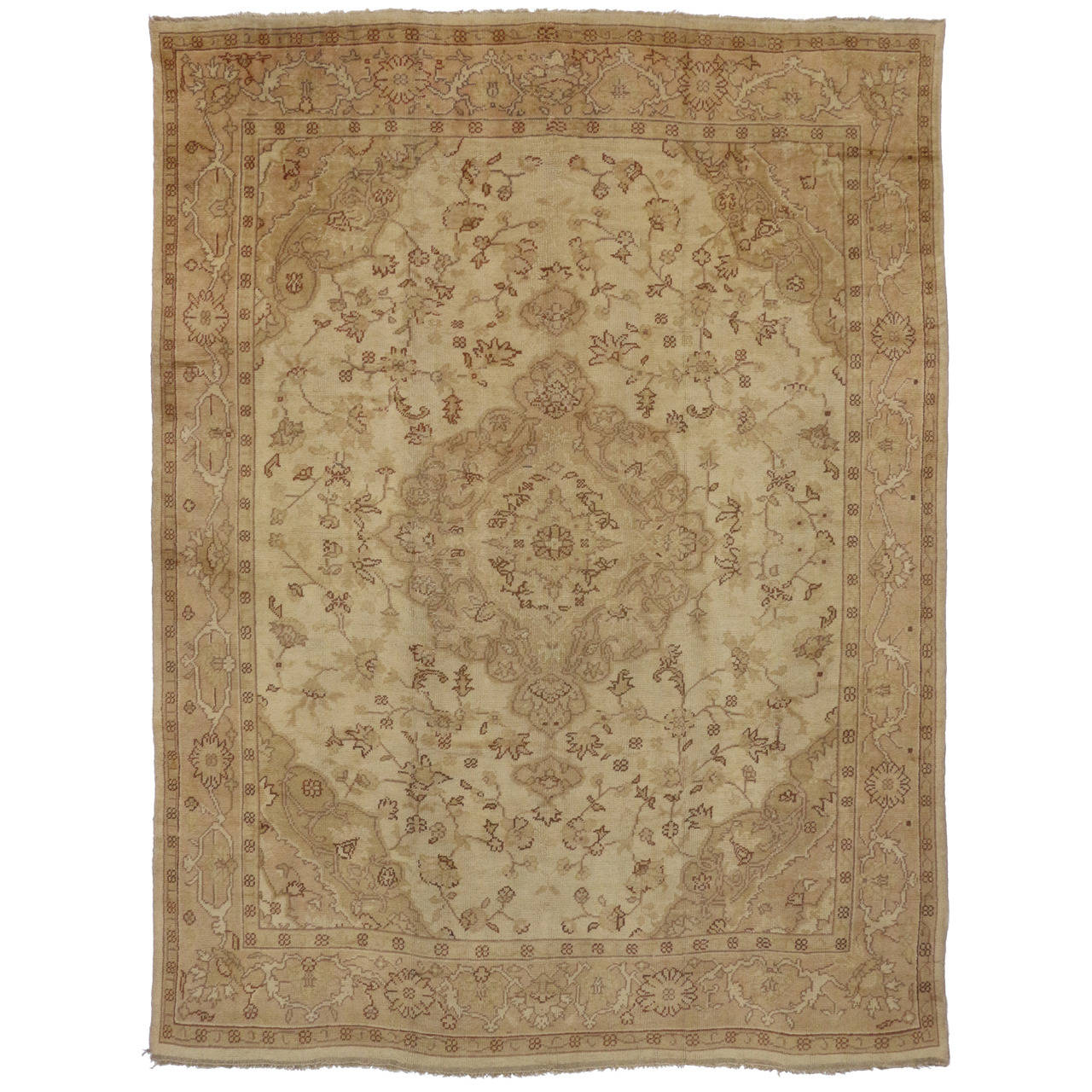 Antique turkish oushak area rug with warm neutral color for Warm rugs