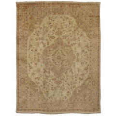 Antique Turkish Oushak Area Rug with Warm Neutral Color Palette