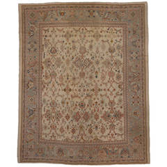 Antique Turkish Oushak Area Rug with Modern Design in Muted Colors