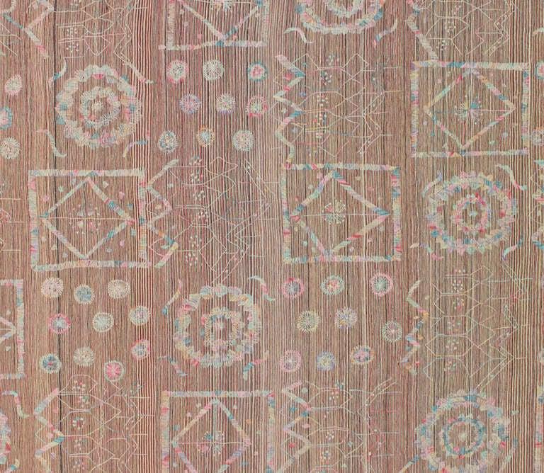 Vintage Flatweave Kilim Rug With Embroidered Suzani Design