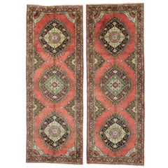 Pair of Vintage Turkish Oushak Runners with Spanish Colonial Style