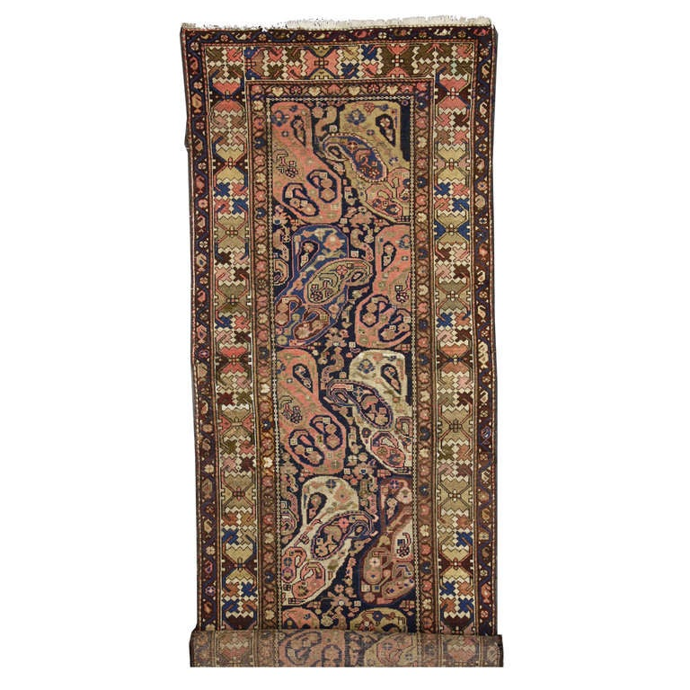 Antique Persian Malayer Carpet Runner, Long Pink and Blue Persian Runner
