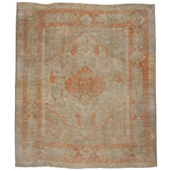 Rare Antique Turkish Oushak with Elephants in Soft Muted Colors