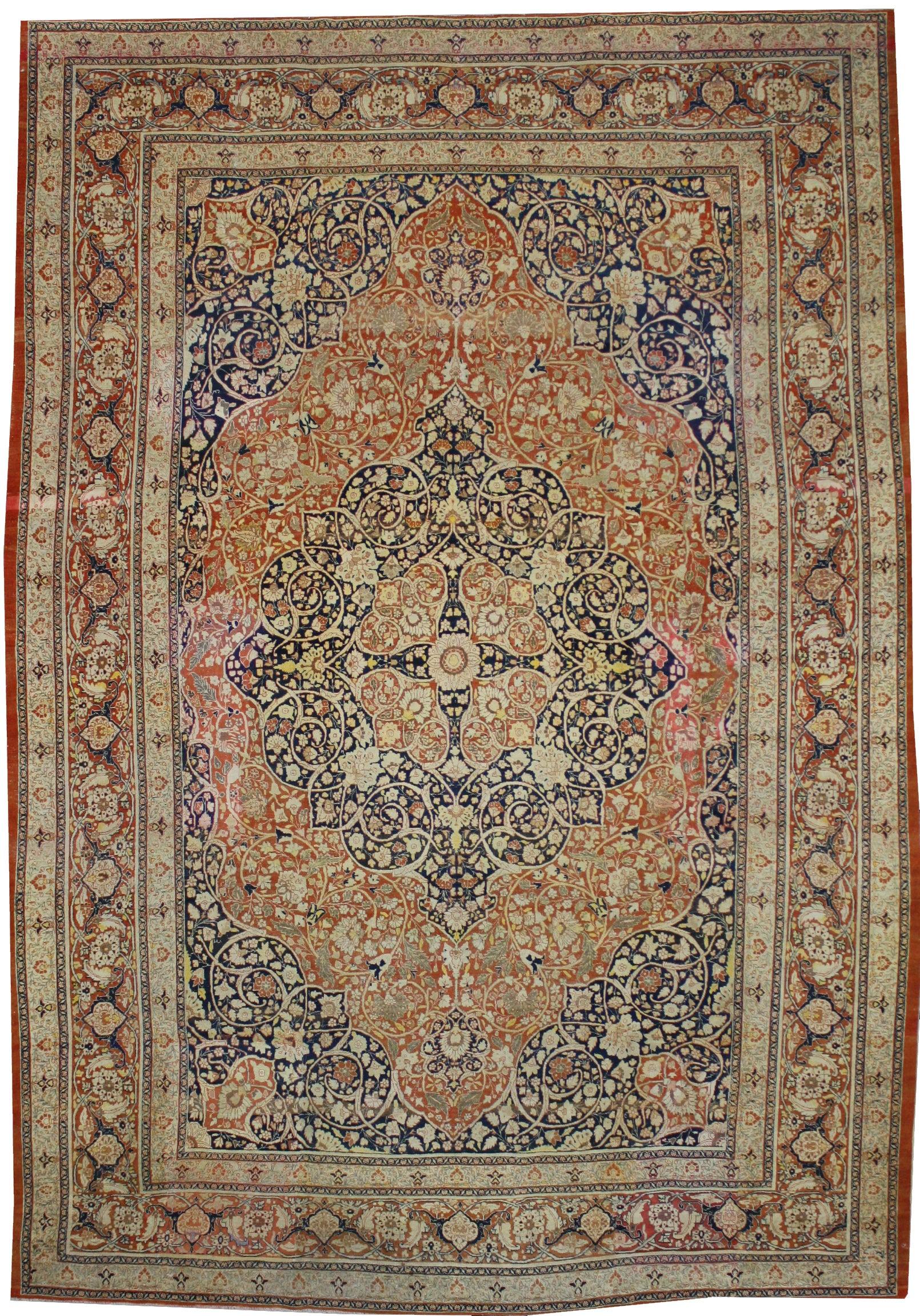 Haji Jalili Antique Persian Tabriz Rug with Art Nouveau Style