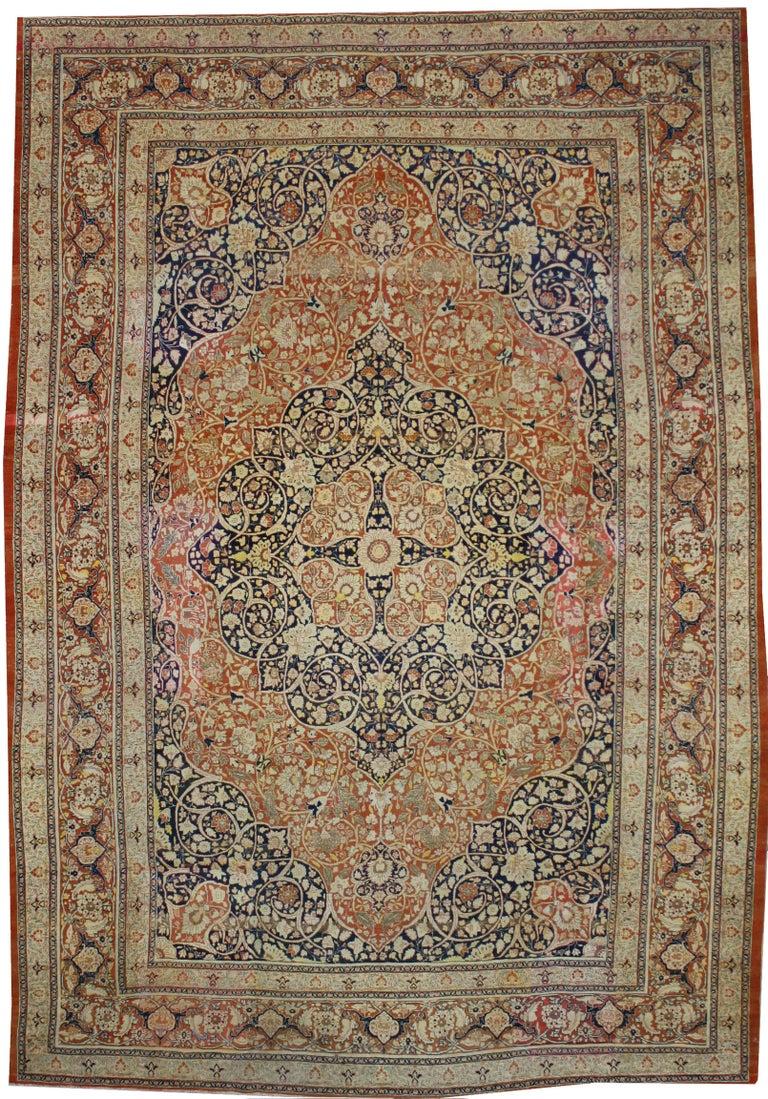 Haji Jalili Antique Persian Tabriz Rug with Art Nouveau Style For Sale