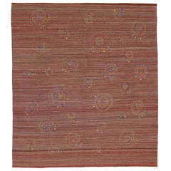Vintage Kilim with Embroidered Suzani Design with Bohemian Style
