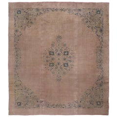 Antique Turkish Oushak Area Rug with Rustic Romantic Georgian Style