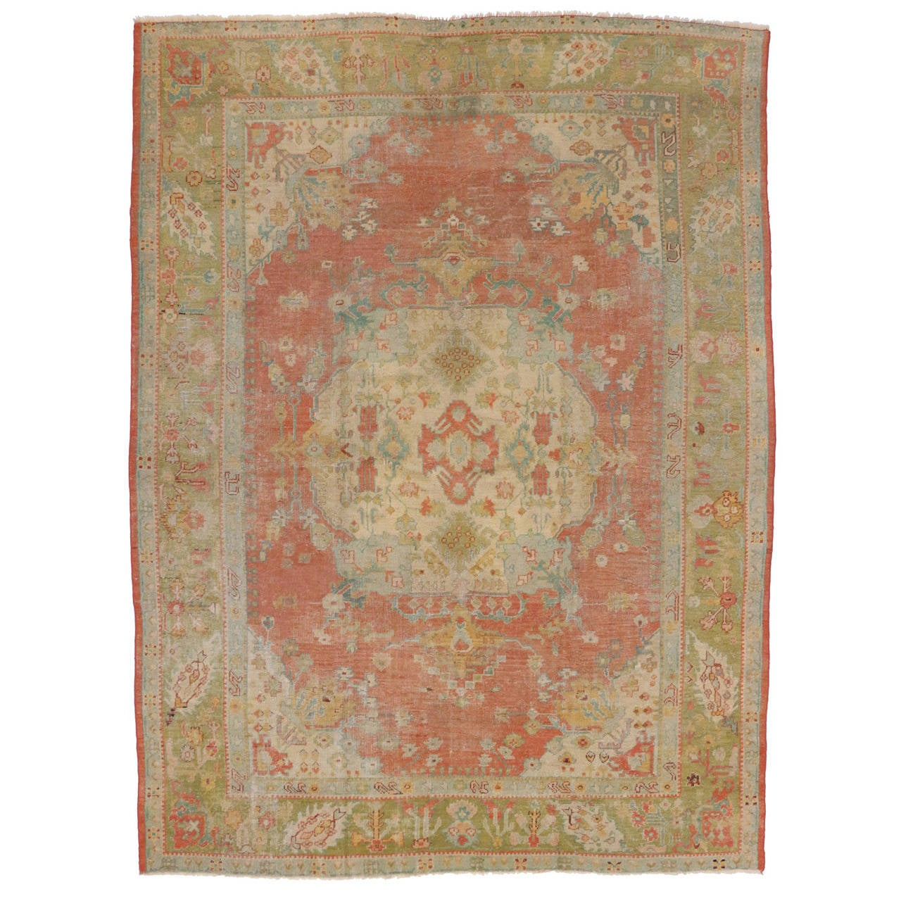 Antique oushak area rug with soft muted colors at 1stdibs for Soft area rugs