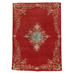 Antique Turkish Oushak Area Rug with Modern Style in Ravishing Red