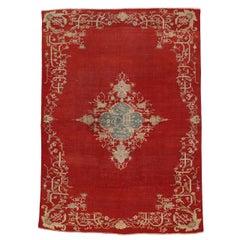 Antique Turkish Oushak Rug with Jacobean Fretwork Style