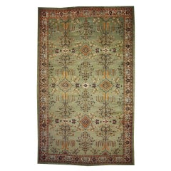 Green Antique Indian Agra Gallery Rug with Modern Design