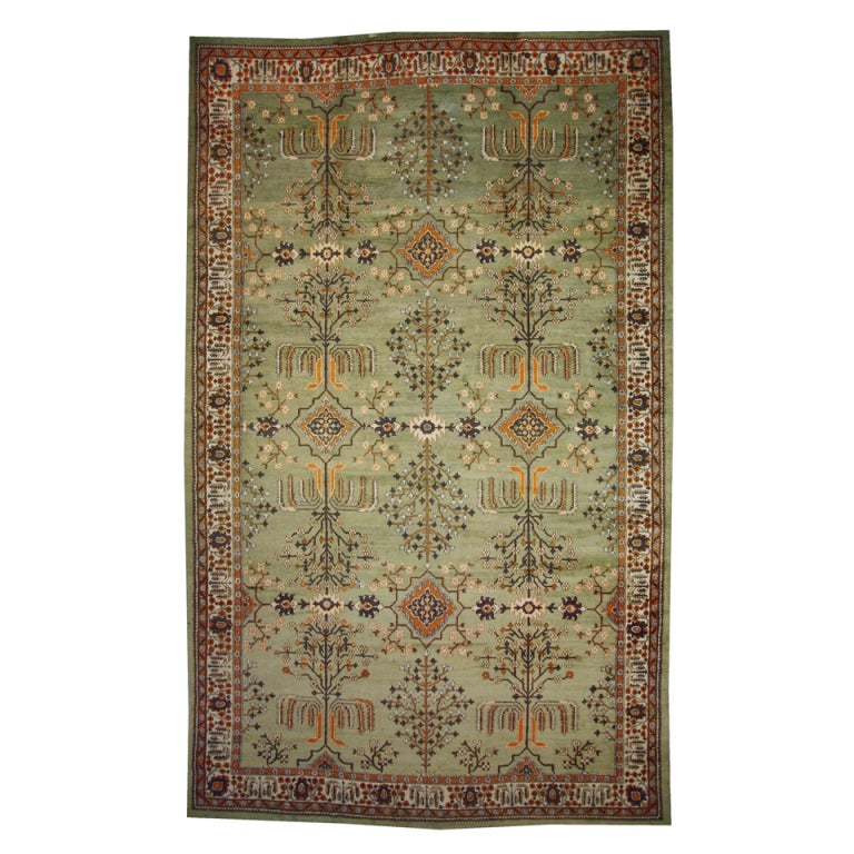 Green antique indian agra gallery rug with modern design for Modern home decor items india