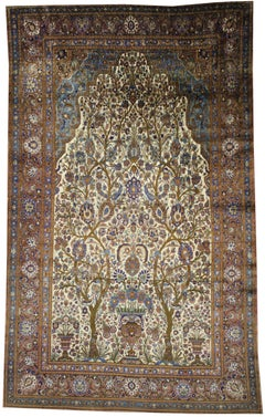 Antique Persian Mohtasham Kashan Silk Directional Rug with Neoclassic Style