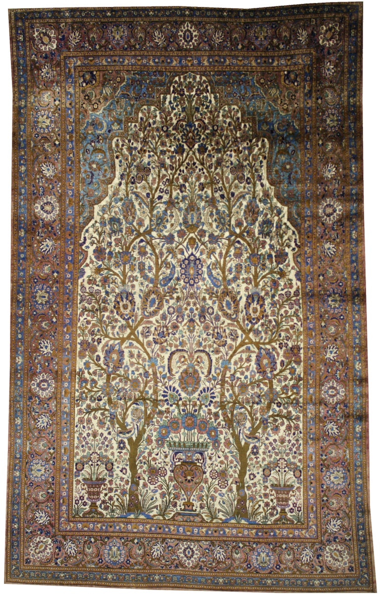 Antique Persian Mohtasham Kashan Silk Directional Rug with Neoclassic Style For Sale