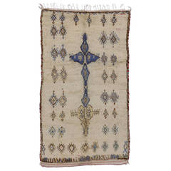 Boho Chic Berber Moroccan Rug with Tribal Design in Light Colors