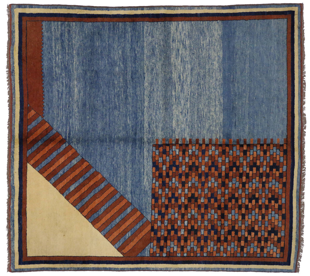 turkish oushak square rug with mid century modern and mad men style for sale at 1stdibs. Black Bedroom Furniture Sets. Home Design Ideas