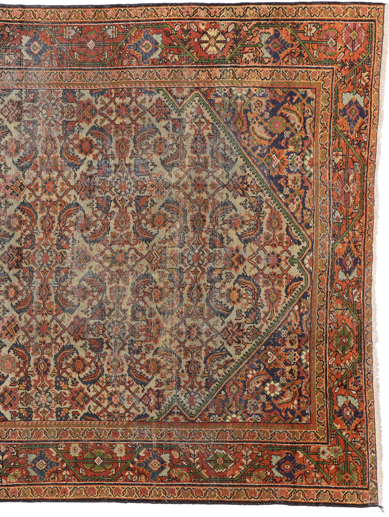 Distressed antique persian mahal rug with modern for Vintage style area rugs