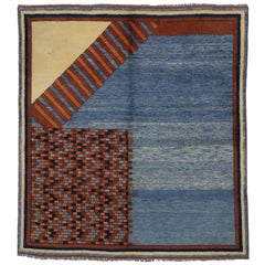 Turkish Oushak Square Rug with Mid-Century Modern and Mad Men Style
