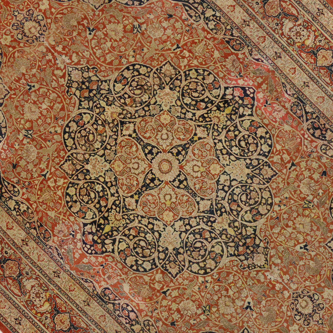 Haji Jalili Antique Persian Tabriz Rug With Art Nouveau
