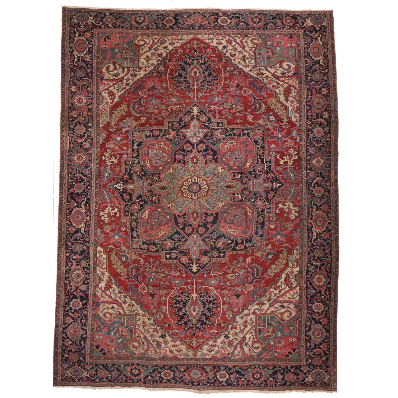 Antique Persian Serapi With Traditional Modern Design For