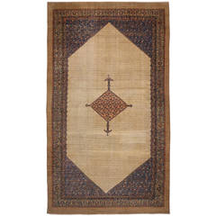 Antique Persian Malayer Camel Hair Rug with Modern Design