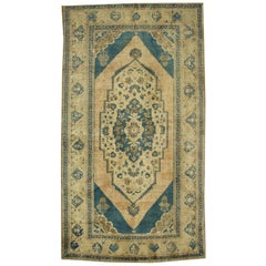 Vintage Turkish Oushak Rug with Modern Design and Cerulean Blue Field
