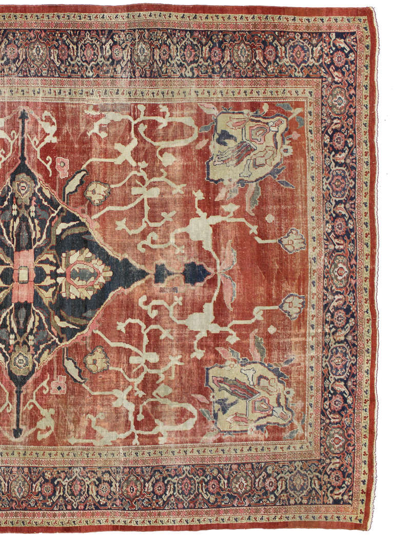 Distressed Antique Persian Sultanabad Area Rug With Modern