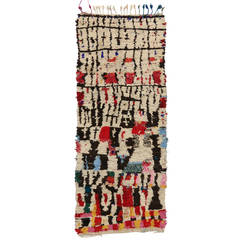 Mid-Century Modern Berber Moroccan Carpet Runner with Abstract Tribal Design