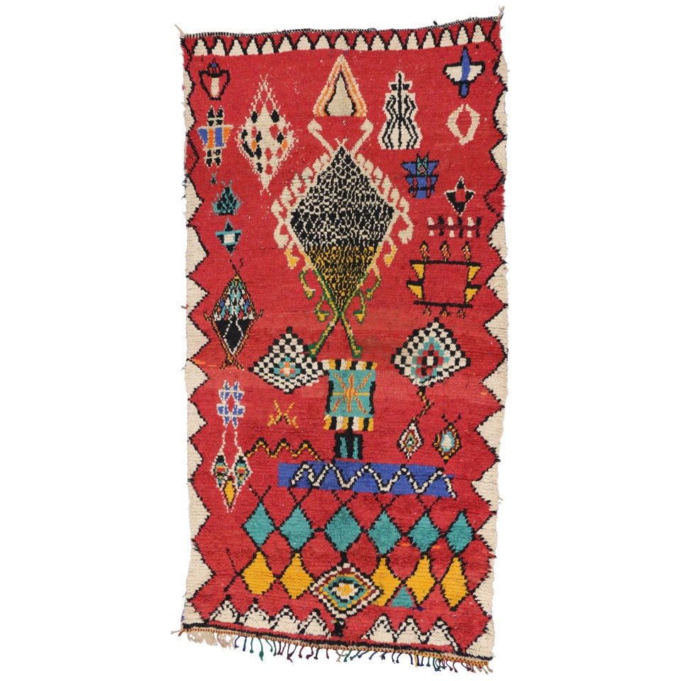 Mid-Century Modern Berber Moroccan Red Rug with Tribal Designs