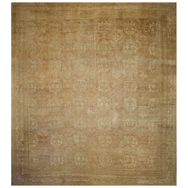 Antique Turkish Oversize Oushak Rug with Modern Design in Muted Colors