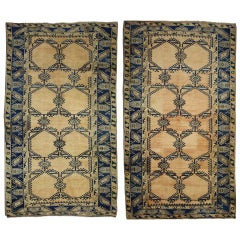 Pair of Vintage Turkish Oushak Gallery Rugs, Pair of Wide Hallway Runners
