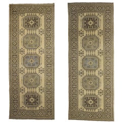 Pair of Vintage Oushak Runners with Muted Colors, Hallway Runner Pair