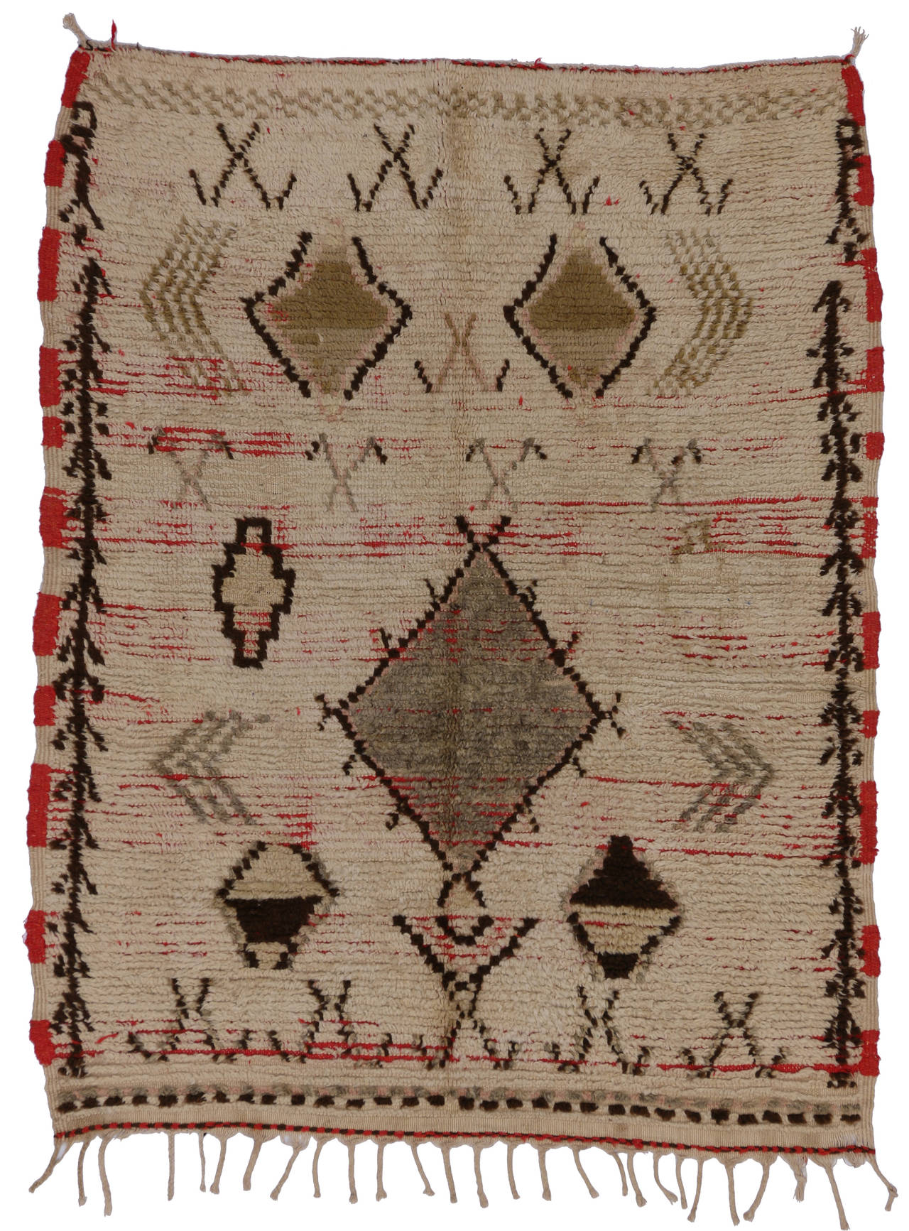 Mid Century Modern Berber Moroccan Rug With Tribal Designs For Sale