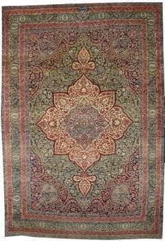 Antique Persian Kermanshah Area Rug with Art Nouveau Style