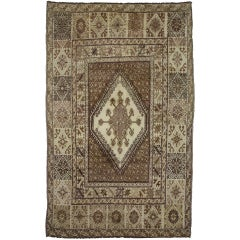 Vintage Berber Moroccan Rug with Tribal Style and Warm, Neutral Earth-Tones