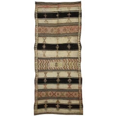 Antique Moroccan Kilim and Pile Rug with Tribal Symbols and Modern Design