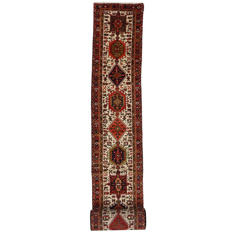 Vintage Persian Heriz Carpet Runner with Traditional Modern Style, Extra Long