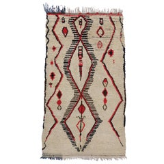 Vintage Berber Moroccan Azilal Rug with Tribal Style and Modern Bauhaus Design