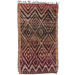 Vintage Berber Moroccan Rug with Mid-Century Modern Bohemian Style