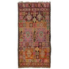 Vintage Berber Moroccan Boujad Rug with Bohemian Postmodern Style