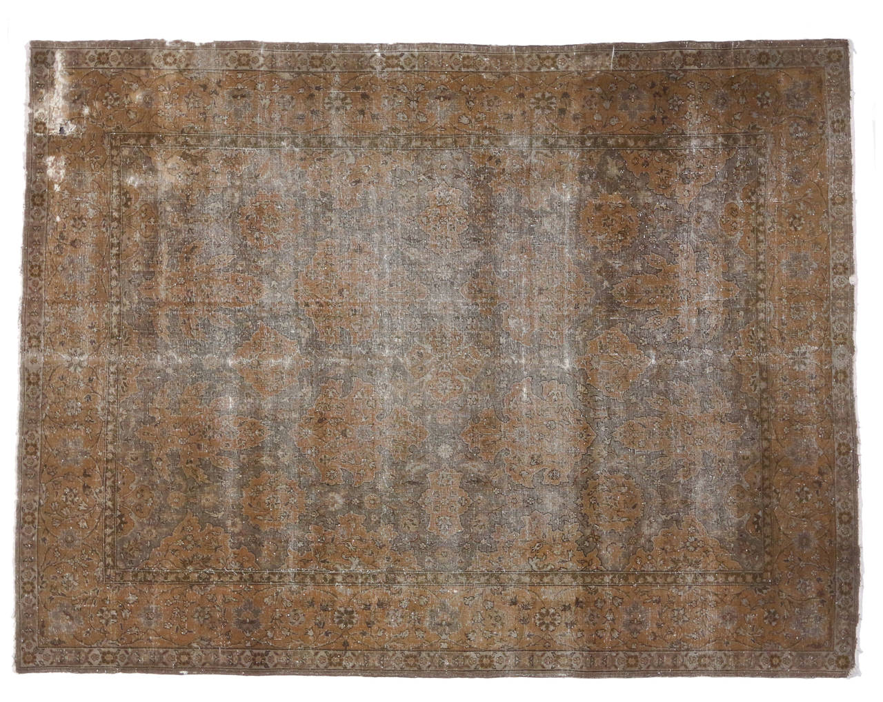 Distressed Antique Turkish Sparta Area Rug With Modern