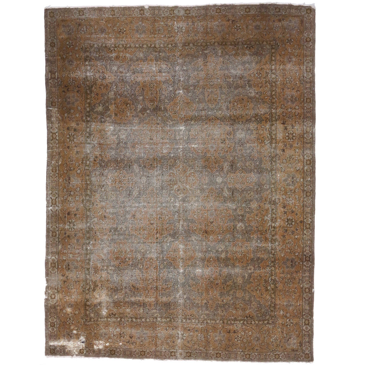 Distressed antique turkish sparta area rug with modern for Vintage style area rugs