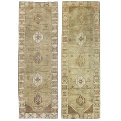 Pair of Vintage Turkish Oushak Runners, Matching Hallway Runners