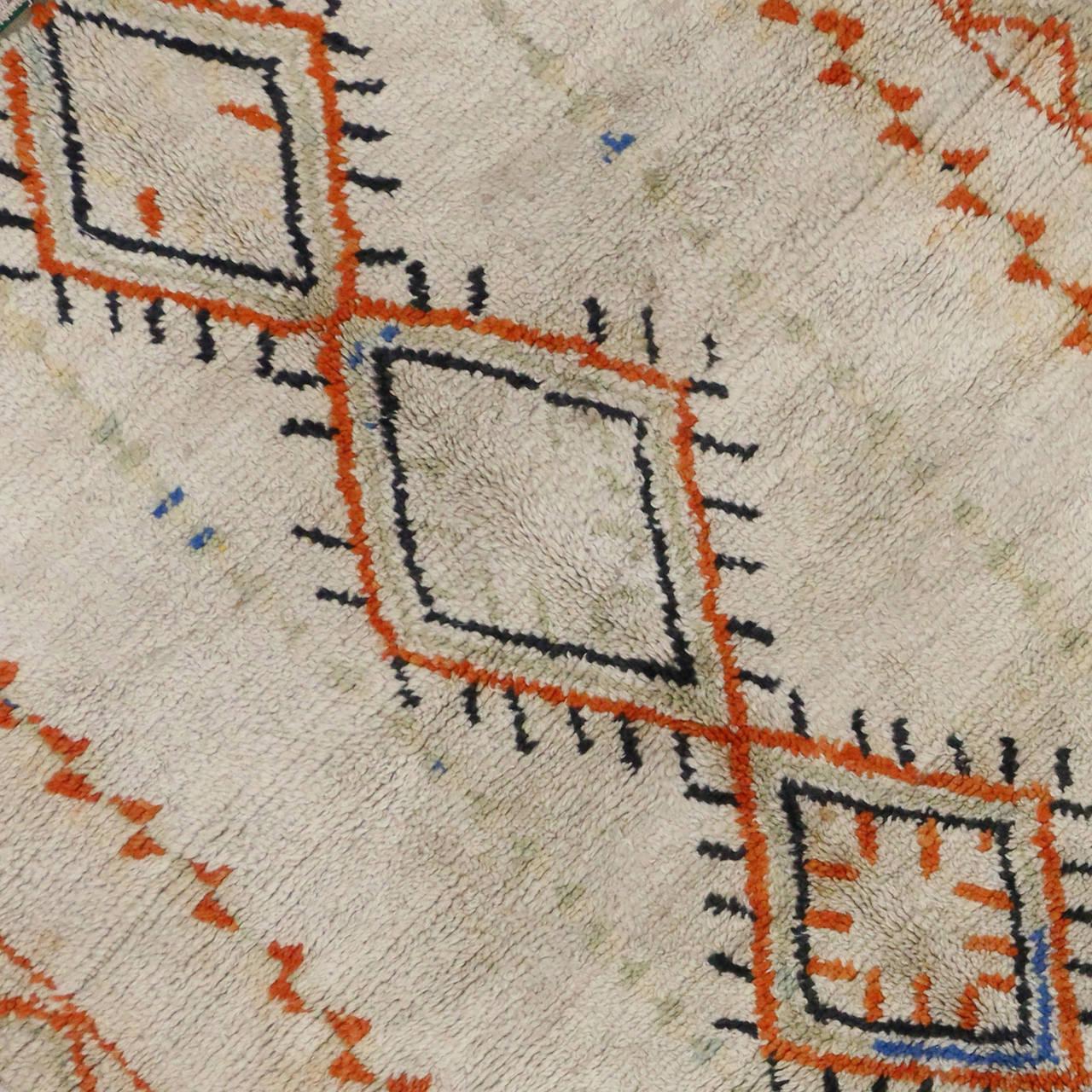 Hand-Knotted Vintage Berber Moroccan Rug, 04'06