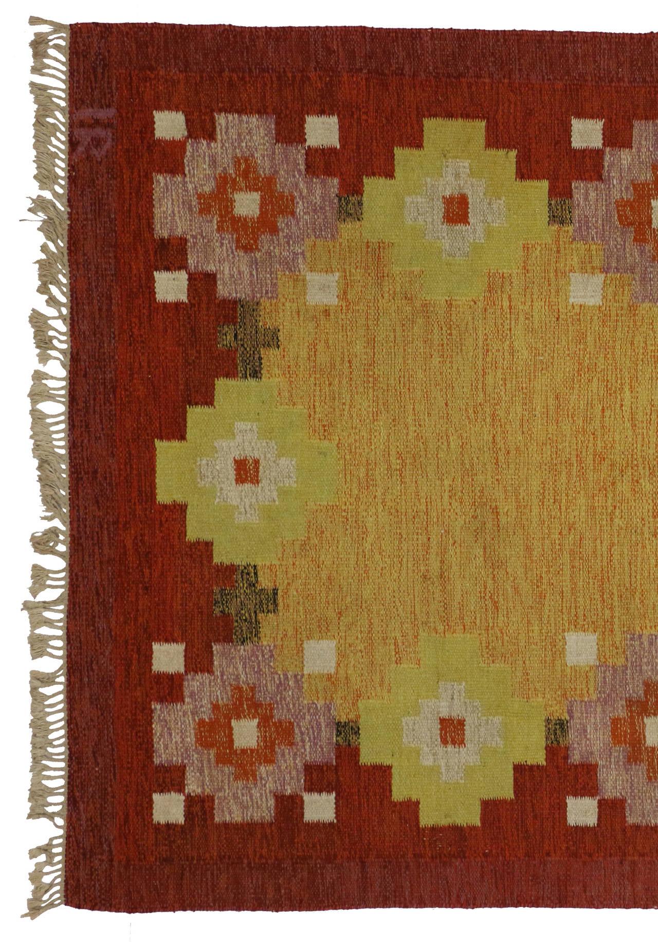 Scandinavian Modern Swedish Rollakan Kilim by Ida Rydelius, Flatweave Kilim Rug For Sale 4