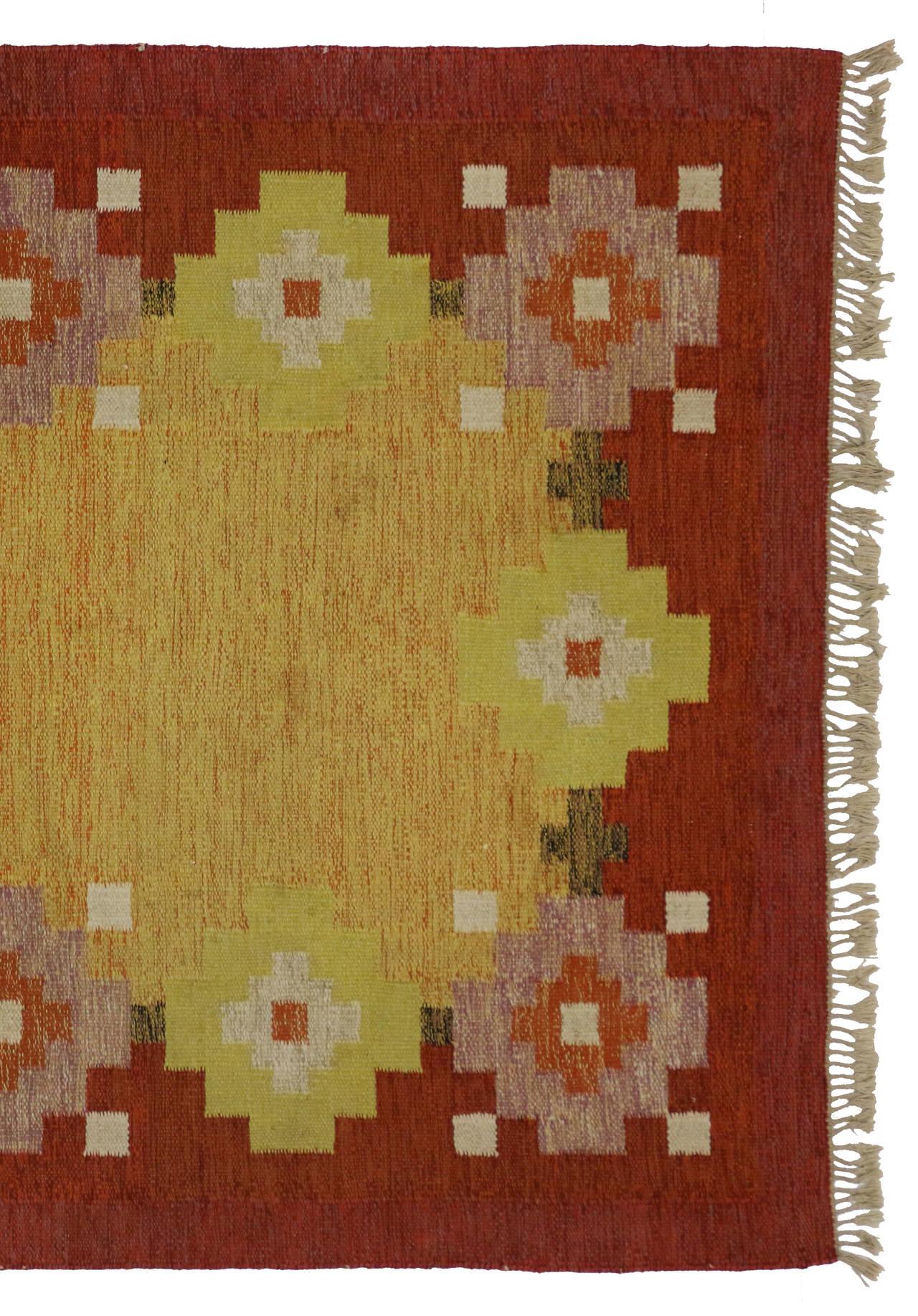 Scandinavian Modern Swedish Rollakan Kilim by Ida Rydelius, Flatweave Kilim Rug For Sale 5
