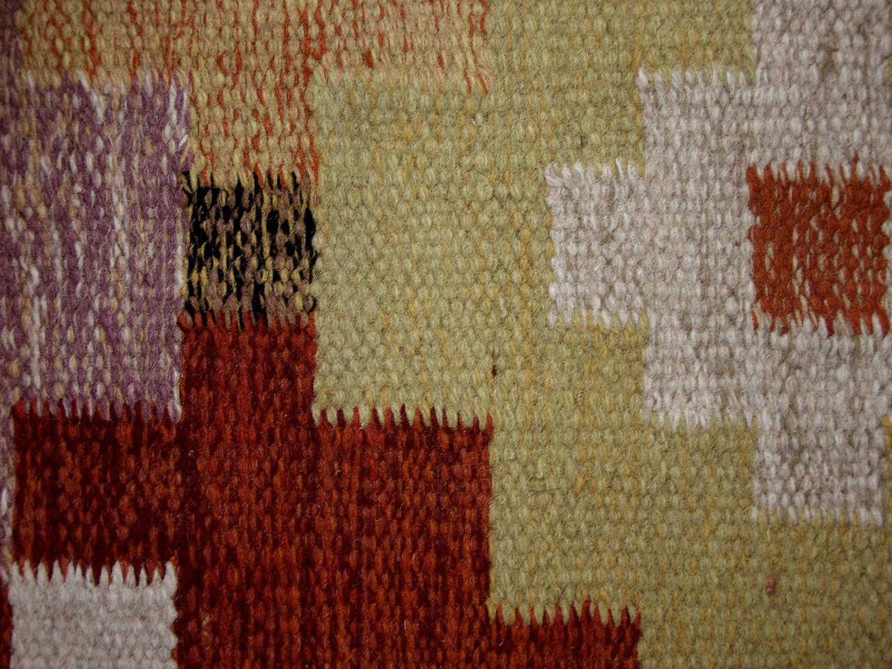 Scandinavian Modern Swedish Rollakan Kilim by Ida Rydelius, Flatweave Kilim Rug For Sale 6
